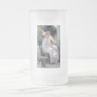 cupid woman work interrupted w bouguereau frosted glass beer mug