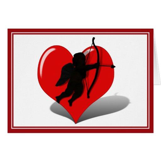 Cupid y corazón tarjeta de felicitación