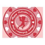 Cupid y corazones rojos del el día de San Valentín Tarjetas Postales