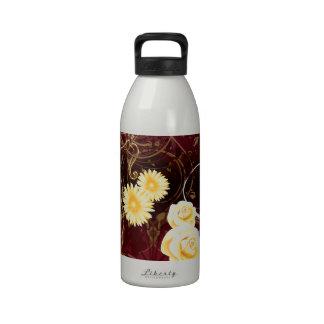 Cupid y flores amarillas botellas de agua reutilizables
