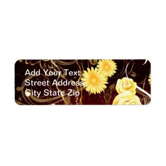 Cupid y flores amarillas etiquetas de remite