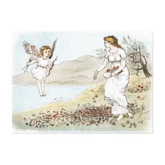 Cupid y la doncella justa lona envuelta para galerias