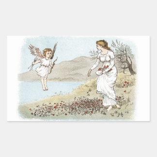 Cupid y la doncella justa rectangular pegatina