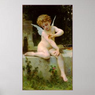Cupid y mariposa por Bouguereau Póster