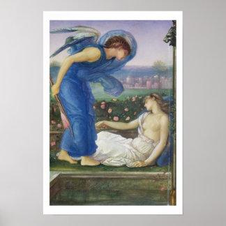 Cupid y psique, c.1865 (w/c, bodycolour y pasado póster