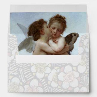 Cupid y psique como blanco azul de los niños sobre