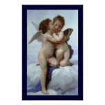 Cupid y psique como los niños/ángel primero se bes póster