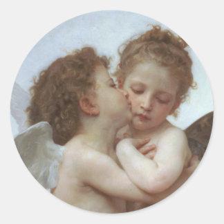 Cupid y psique como niños pegatinas redondas