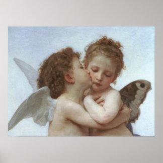 Cupid y psique como niños póster