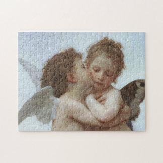 Cupid y psique como niños rompecabezas con fotos