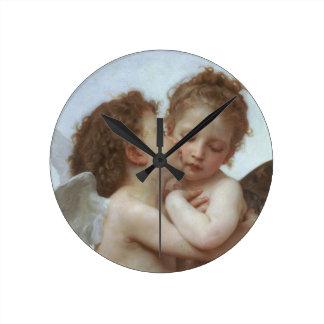 Cupid y psique como niños reloj redondo mediano