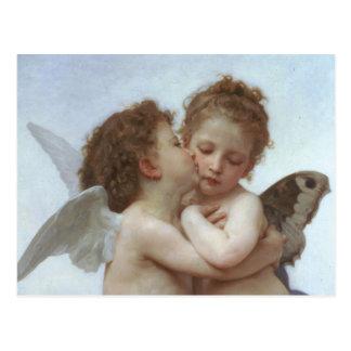 Cupid y psique como niños postal