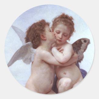 Cupid y psique etiqueta redonda