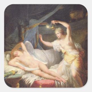 Cupid y psique pegatina cuadradas