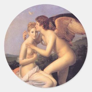 Cupid y psique etiquetas redondas
