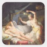 Cupid y psique pegatina cuadrada