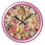 Cupid y rosas del Victorian florales Relojes De Pared