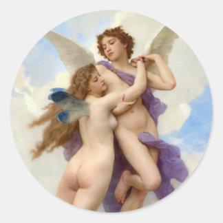 Cupid y vintage Bouguereau de la psique Pegatina Redonda