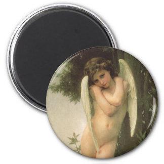 Cupidon, Cupid, ángel del Victorian del vintage de Imán Redondo 5 Cm
