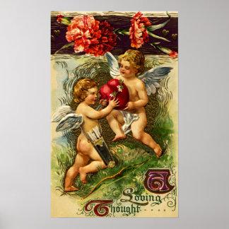 Cupids and Carnations Vintage Valentine Poster