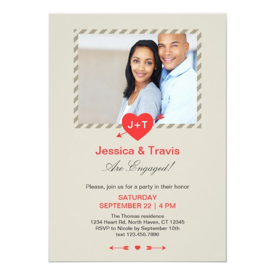 Cupid's Arrow Engagement Party Photo Invitation