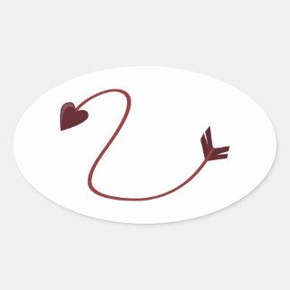 Cupids Arrow Oval Stickers