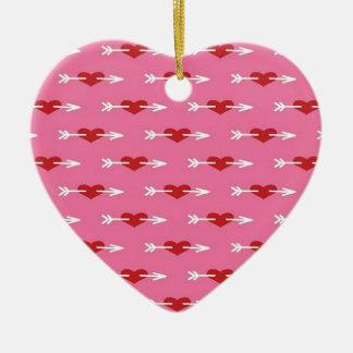 Cupids Arrow To the Heart Ceramic Ornament