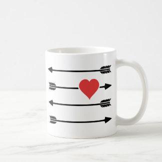 Cupid's Arrow Valentine's Day Heart Coffee Mugs