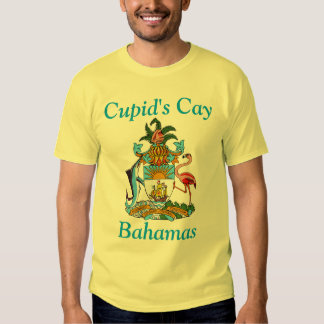 Cupid's Cay, Bahamas with Coat of Arms T Shirt