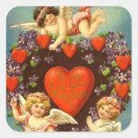 Cupids de la tarjeta del día de San Valentín 3 del Pegatina Cuadrada