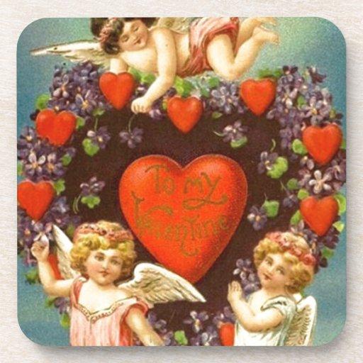 Cupids de la tarjeta del día de San Valentín 3 del Posavasos De Bebida