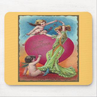 Cupids Decorating Woman's Big Heart Mousepad