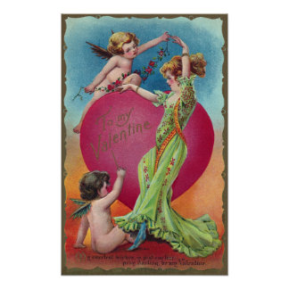 Cupids Decorating Woman's Big Heart Posters