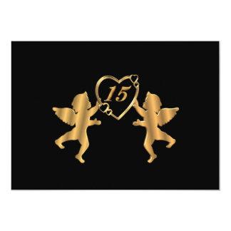 """Cupids del oro de Quinceanera en el negro para el Invitación 5"""" X 7"""""""