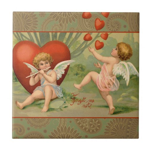 Cupids del vintage el día de San Valentín con los  Azulejo Cuadrado Pequeño