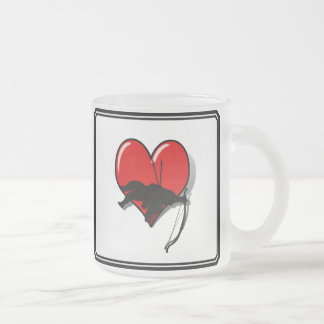 Cupid's Down w/Heart (Add your Text) 10 Oz Frosted Glass Coffee Mug