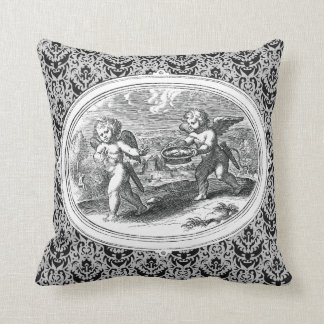 Cupids in a Landscape Antique Engraving Throw Pillow