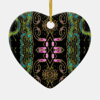 Cupids Ribbon Double-Sided Heart Ceramic Christmas Ornament
