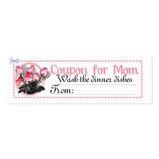 Cupón de la tarea para la mamá tarjetas de visita mini