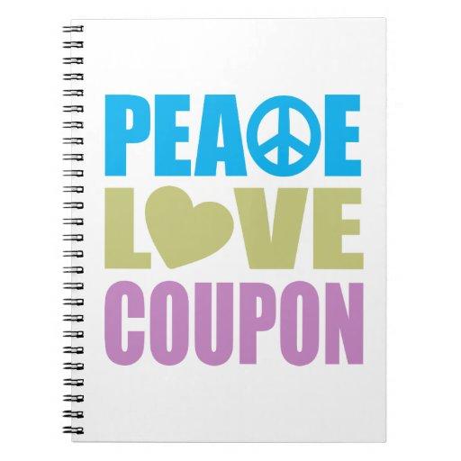 Cupón del amor de la paz cuadernos
