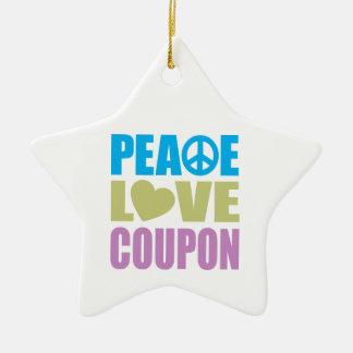 Cupón del amor de la paz adorno de cerámica en forma de estrella