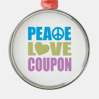 Cupón del amor de la paz adorno redondo plateado