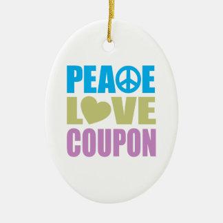 Cupón del amor de la paz adorno ovalado de cerámica