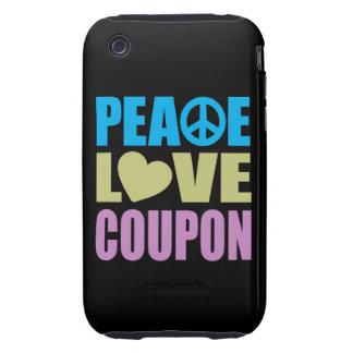 Cupón del amor de la paz tough iPhone 3 fundas