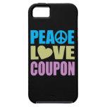 Cupón del amor de la paz iPhone 5 fundas