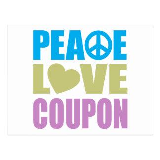 Cupón del amor de la paz tarjetas postales