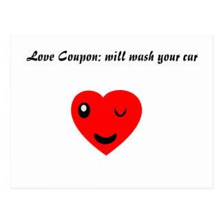 Cupón del amor: lavará su coche tarjetas postales