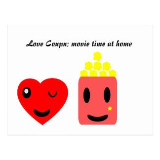 Cupón del amor: tiempo de película en casa tarjeta postal