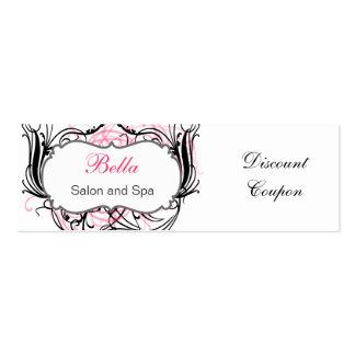 cupón elegante rosada blanco y negro del descuent