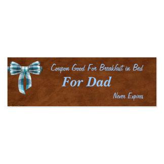 Cupón para el papá desayuno en etiqueta del navid tarjeta personal